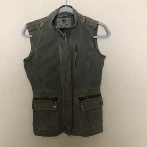 Lucky Brand Army Green Utility Jacket Vest Size XS